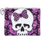 Pink Polka Dot Bow Skull Canvas Cosmetic Bag (XXL)