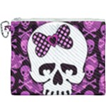 Pink Polka Dot Bow Skull Canvas Cosmetic Bag (XXXL)