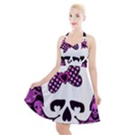 Pink Polka Dot Bow Skull Halter Party Swing Dress