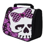 Pink Polka Dot Bow Skull Full Print Travel Pouch (Small)