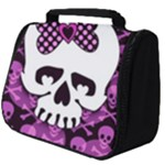 Pink Polka Dot Bow Skull Full Print Travel Pouch (Big)