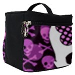 Pink Polka Dot Bow Skull Make Up Travel Bag (Small)