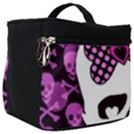 Pink Polka Dot Bow Skull Make Up Travel Bag (Big)