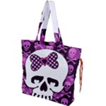 Pink Polka Dot Bow Skull Drawstring Tote Bag