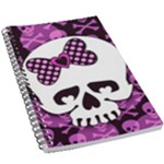 Pink Polka Dot Bow Skull 5.5  x 8.5  Notebook