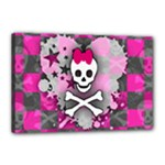 Princess Skull Heart Canvas 18  x 12  (Stretched)