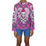 Princess Skull Heart Kids  Long Sleeve Swimwear