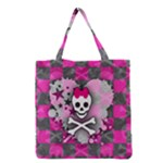 Princess Skull Heart Grocery Tote Bag