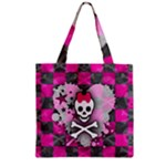 Princess Skull Heart Zipper Grocery Tote Bag