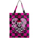 Princess Skull Heart Zipper Classic Tote Bag