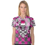 Princess Skull Heart V-Neck Sport Mesh Tee