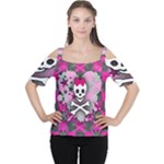 Princess Skull Heart Cutout Shoulder Tee