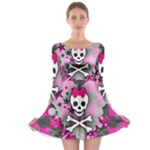 Princess Skull Heart Long Sleeve Skater Dress