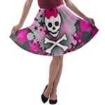 Princess Skull Heart A-line Skater Skirt