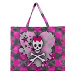 Princess Skull Heart Zipper Large Tote Bag
