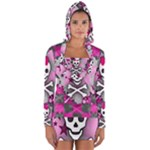 Princess Skull Heart Long Sleeve Hooded T-shirt