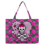 Princess Skull Heart Zipper Medium Tote Bag