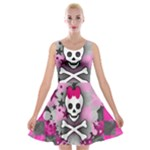 Princess Skull Heart Velvet Skater Dress