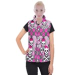 Princess Skull Heart Women s Button Up Vest