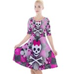 Princess Skull Heart Quarter Sleeve A-Line Dress