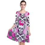 Princess Skull Heart Quarter Sleeve Waist Band Dress