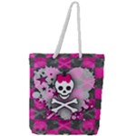 Princess Skull Heart Full Print Rope Handle Tote (Large)