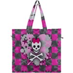 Princess Skull Heart Canvas Travel Bag
