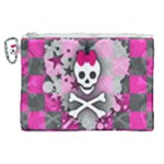 Princess Skull Heart Canvas Cosmetic Bag (XL)