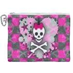 Princess Skull Heart Canvas Cosmetic Bag (XXL)