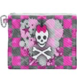 Princess Skull Heart Canvas Cosmetic Bag (XXXL)
