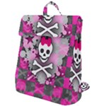 Princess Skull Heart Flap Top Backpack