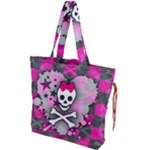 Princess Skull Heart Drawstring Tote Bag
