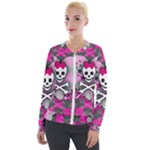 Princess Skull Heart Velour Zip Up Jacket