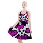 Punk Skull Princess Halter Party Swing Dress