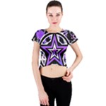Purple Star Crew Neck Crop Top