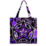 Purple Star Zipper Grocery Tote Bag