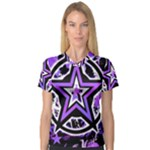 Purple Star V-Neck Sport Mesh Tee