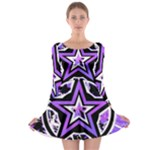 Purple Star Long Sleeve Skater Dress