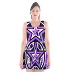Purple Star Scoop Neck Skater Dress