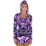 Purple Star Long Sleeve Hooded T-shirt