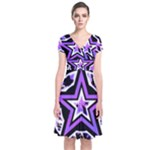 Purple Star Short Sleeve Front Wrap Dress