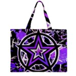 Purple Star Zipper Medium Tote Bag