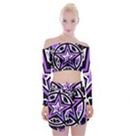 Purple Star Off Shoulder Top with Mini Skirt Set