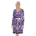 Purple Star Long Sleeve Velvet Front Wrap Dress