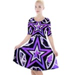 Purple Star Quarter Sleeve A-Line Dress