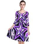 Purple Star Quarter Sleeve Waist Band Dress