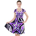 Purple Star Cap Sleeve Midi Dress