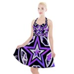 Purple Star Halter Party Swing Dress