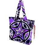 Purple Star Drawstring Tote Bag