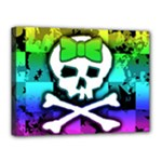 Rainbow Skull Canvas 16  x 12  (Stretched)